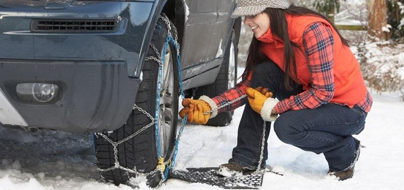 Instalación de cadenas para la nieve